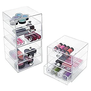 InterDesign 3-Drawer Multipurpose Storage Container with Knobs, Clear (35300)