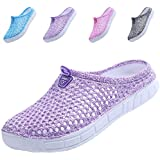 QTMS Womens Comfortable Walking Clogs Garden Shoes Slippers Quick Drying Sandals FB161-Purple-37