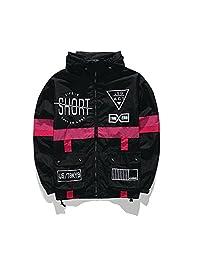 AITFINEISM Men's Fashion Lightweight Hoodie Zip-up Reflective Windbreaker Jacket