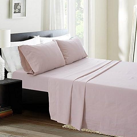 Simple&Opulence Linen Cotton Blend Sheet Set 4PCS Solid Color (Queen, Linen) - Flax Color