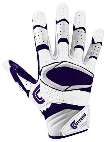 Cutters Gloves Rev Pro 2.0 Receiver Football Gloves, White/Purple, X-Large by Cutters