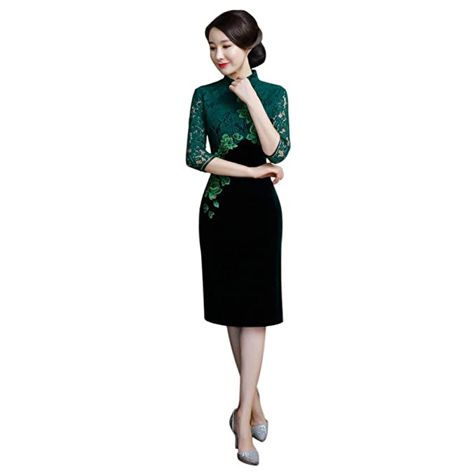7856411c1 Xinvision Women's Chinese Vintage Qipao Dress 3/4 Lace Sleeve Slim Fit  Cheongsam