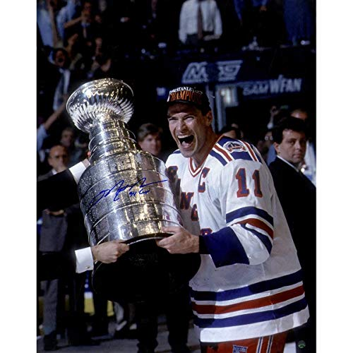 Mark Messier Autographed Signed Cup On Side Vertical 16x20 Photo With 94 Cup Insc