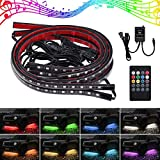 Justech 4x8Colors LED Neon Undercar Glow light 12V RGB Car Chassis Light Underglow Atmosphere Decorative Bar Lights Kit with Sound Active and Wireless Remote Control for Car Bumper Car Bottom