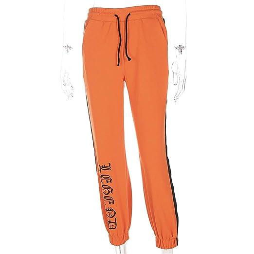 Pantalones casuales de las mujeres Mujeres Cordones Jogger ...
