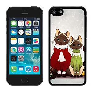 2014 Newest Lovely Red And Green Decorated Christmas Cats Black Plastic Iphone 5c,Apple Iphone 5c Cover Case by icecream design
