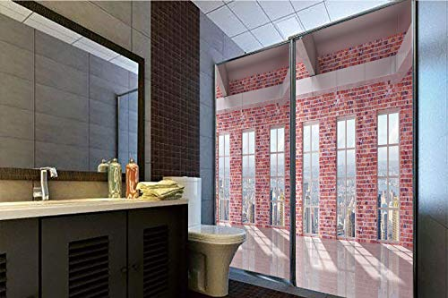 "Horrisophie dodo 3D Privacy Window Film No Glue,Modern Decor,Red Brick Wall Loft Interior with Windows to City Urban Contemporary Design,Multicolor,70.86"" H x 23.62"" W for Home&Office"