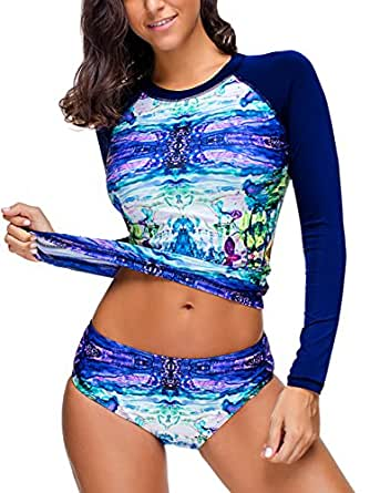 Ayliss Women's Printed Long Sleeve Rash Guard Tankini Swimsuit Surfing Swimwear,Blue M