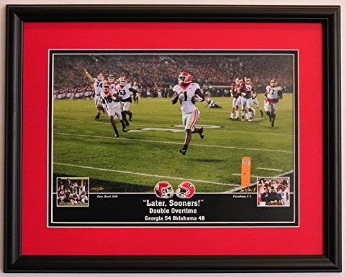 Georgia Bulldogs Football - Dawgs beat Oklahoma to win the Rose Bowl - Framed (Gold Georgia Bulldogs Football)
