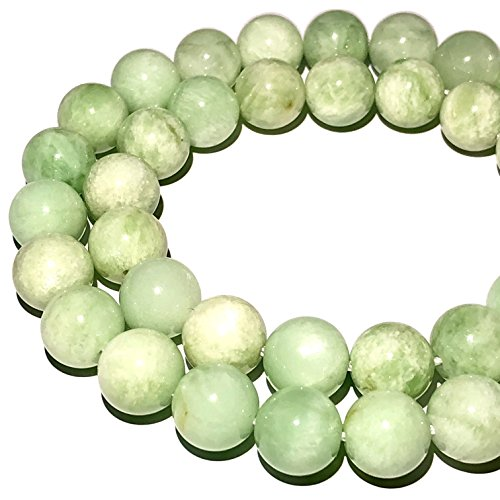 Rare Madagascan Green Moonstone (Exquisite Color- Grade AA) 10mm Smooth Round Beads for Beading & Jewelry Making ()