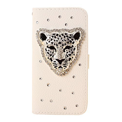 iPhone 6s Wallet Case, Black Lemon Handmade Luxury 3D Bling Crystal Rhinestone Leather Purse Flip Card Pouch Stand Cover Case for iPhone 6 6s 4.7 Inch (Leopard Head) ()