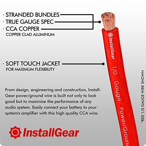 InstallGear 1/0 Gauge Red 25ft Power/Ground Wire True Spec and Soft Touch Cable by InstallGear (Image #2)