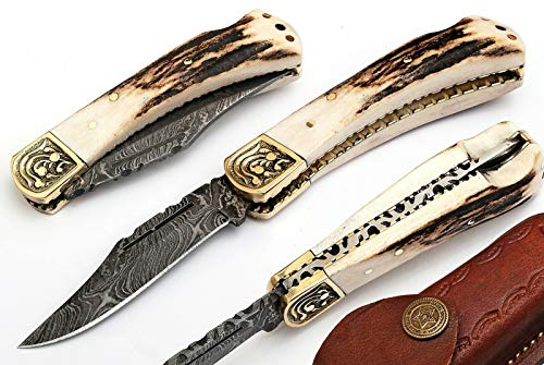 (Damascus Steel Stag Handle Straight Folding TOP Lock Pocket)