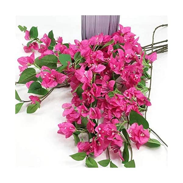 jiumengya 10pcs Silk Bougainvillea Glabra Climbing Bougainvillea Flower Artificial Bougainvillea Tree Branches 31.5″ six Colors for Wedding Centerpieces (deep Pink)