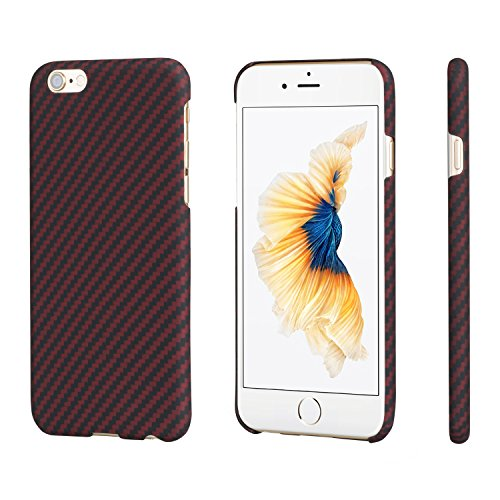 PITAKA Minimalist Case Compatible with iPhone 6 Plus/6s Plus 5.5, Aramid Fiber[Real Body Armor Material],Ultra Thin Lightest Strongest Durable Snugly Slim Fit - Black/Red(Twill)