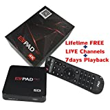 EVPAD PRO Online TV Box Android 4.4 with Google Player 1500+ Global Live Channels, Free IPTV Smart 4K UHD Kodi Multimedia Player Box with Chinese English Korean Japanese and Malay Languages