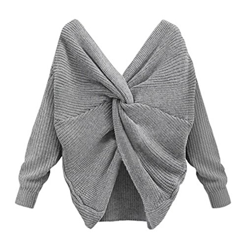 Herbst Pullover Sexy Pullover Tiefem V-ausschnitt Jumper Langarmshirts Stricken Kurze Sweatshirts Frühling Winter Arbeit Casual Büro junkai Grau JjEBo