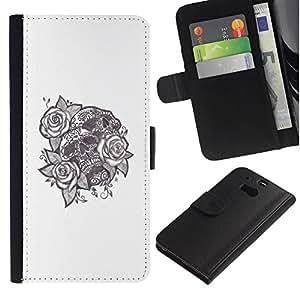 Planetar® Modelo colorido cuero carpeta tirón caso cubierta piel Holster Funda protección Para HTC One M8 ( Tattoo Ink Skull Black White Rose Love )