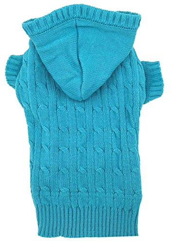 Large Cable Dog Sweater (Sky Blue Dog Classic Cable Pet Sweater Hoodie for Dogs, XXX-Large (XXXL))