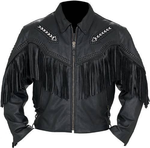 Jacket Western Indian Leather - coolhides Men's Western Cowboy Real Leather Jacket Cow Black Medium
