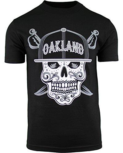 - Mens Day of The Dead Sugar Skull Oakland California Mens Shirt (Black, 3XL)