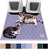 Gorilla Grip Original Premium Durable Multiple Cat Litter Mat, 47x35, XL Jumbo, No Phthalate, Water Resistant, Traps Litter from Box and Cats, Scatter Control, Mats Soft on Kitty Paws, Purple