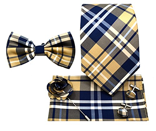 5pc Necktie Gift Box -Plaid-Brown