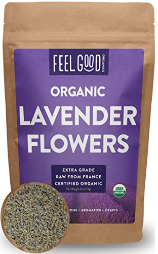Organic Lavender Flowers (Extra Grade - Dried) - 4oz Resealable Bag - 100% Raw From France - by Feel Good Organics (Culinary Lavender)