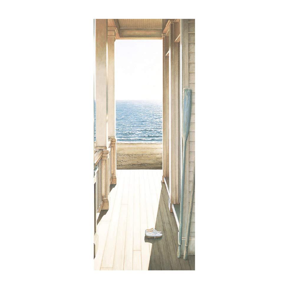 XFF 3D Adesivi Per Porte Bellissimo Corridoio Big Sea Immagine Vinile Removibile Murale Manifesto Scena Porta Adesivi Murali Casa Decorazione D'arte 77 * 200Cm/30X79 [Classe di efficienza energetica A]