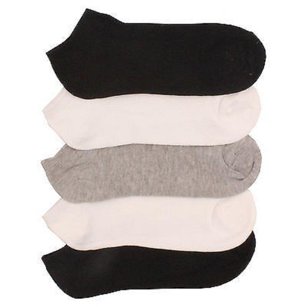 5 x BRITWEAR® Ladies Women Cotton Rich Trainer Ankle Liner Socks (Grey, White, Black)