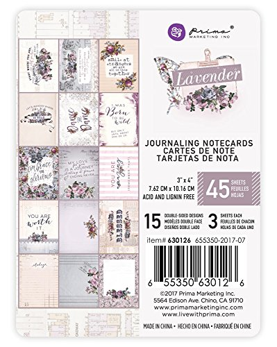 - Prima Marketing Lavender-3x4 Journaling Card Lavender-3x4 Journaling Card