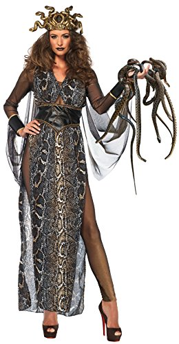 UHC Women's Medusa Snake Print Dress Outfit Adult Halloween Costume, S (4-6) (Medusa Plus Size Costume)
