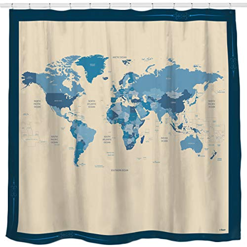 Sunlit Designer New World Map Quality Fabric Shower Curtain with Countries and Ocean - Blue and Beige (Curtain Shower Fabric World)