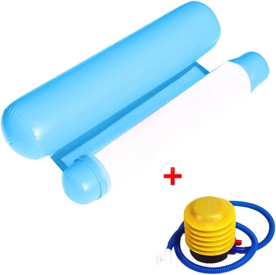 XIAMUSUMMER Hamaca Hinchable Piscina Hamaca cabecero y Pedal colchón neumático (Pompa de Aire) Azul Azul Claro