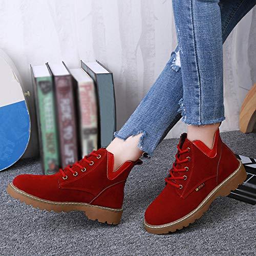 Ankle Flach 40 Rot Damen Stiefeletten Rund Wildlederschuhe Martin Boots Boots Bequem Sonnena Stiefel Boden Winter Freizeitschuhe Schnürer Toe 35 Stiefel U6z0fHFHv