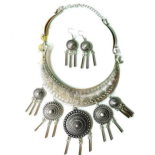 Punpund Necklace Earring Silver Plate Sun Wing Hmong Karen Tribe Thailand Women Dress Costume Jewelry Body 1 Set