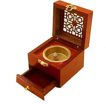 Cenicero, Cenicero Quemador de Incienso Antiguo de Madera UGSDP con Tapa, Caja de Incienso de Incienso