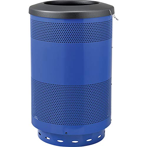 (Global Industrial 55 Gallon Perforated Steel Receptacle with Flat Lid, Blue, Lot of)