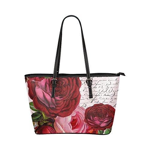 InterestPrint Vintage Luxury Designer Floral Print Leather Tote Bag/Handbag/Shoulder Bag for Women Girls, Colorful -
