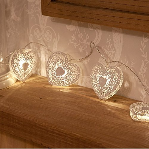 Sunniemart 10 Led Battery Operated String Lights Heart Fairy Lights Outdoor Party Lights for Patio Garden Lawn (Warm (Heart Lights)