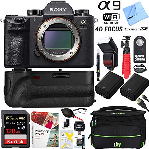 Sony a9 24.2MP Full-Frame Mirrorless Interchangeable Lens Camera Body + 64GB Memory and Battery Grip Super Bundle