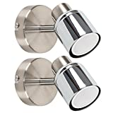 Pair of - Modern Single Ceiling/Wall Spotlights in Chrome F