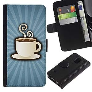 KLONGSHOP / Tirón de la caja Cartera de cuero con ranuras para tarjetas - Coffee Cup Mug Steaming Drink Caffeine Art - Samsung Galaxy S5 V SM-G900