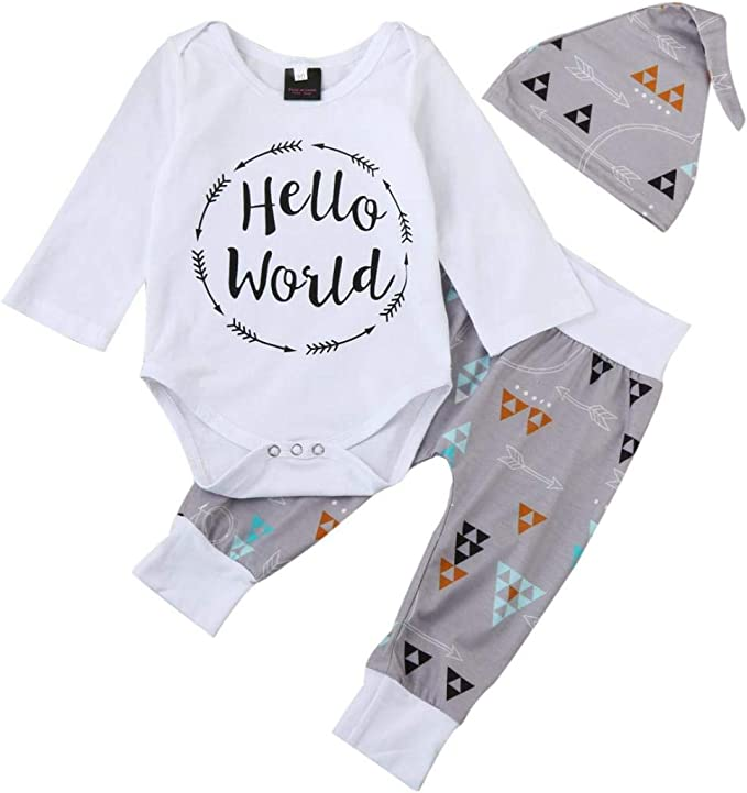 K-youth Ropa Bebe Nino Recien Nacido Oto/ño Invierno 2018 Ofertas Hello World Infantil Blusas Bebe Ni/ña Manga Larga Camisetas Beb/é Mono Mameluco Tops Pantalones Sombrero