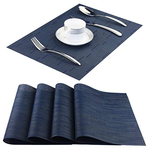 Vinyl Placemats,Washable Table Mats Easy to Clean Woven Placemats for Dining Table Set of 4(Navy Blue) ()