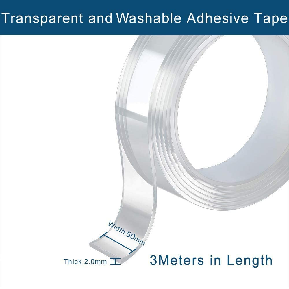 Heavy Duty Clear Sticky Gel Grip Silicone Tape for Paste Photos Poster Double Sided Nano Magic Adhesive Tape Fix Carpet Mats,Household 2 in x3.3 YD Office
