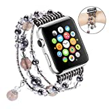 For Apple Watch Band, iWatch Band, Qiandy Apple Watch Strap with Fashion Handmade Elastic Stretch Faux Pearl Natural Stone Bracelet Strap for Apple Watch Series 1 Series 2 Series 3 (Gray 38mm)