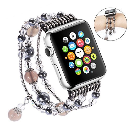 For Apple Watch Band, iWatch Band, Qiandy Apple Watch Strap with Fashion Handmade Elastic Stretch Faux Pearl Natural Stone Bracelet Strap for Apple Watch Series 1 Series 2 Series 3 (Gray 38mm) by Jia Wei