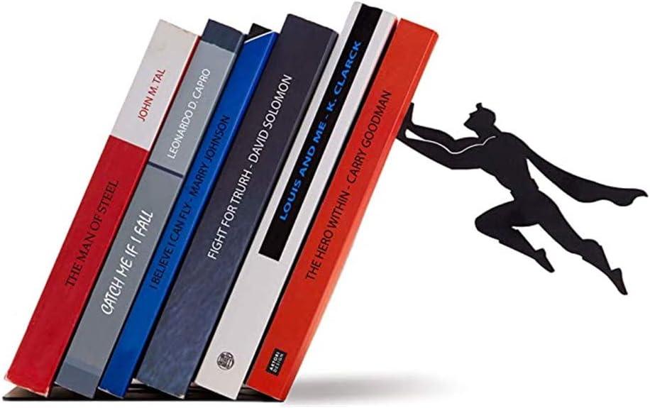 JINBAO Reposa Libros Invisible de Superman, Extremo de Libro de decoración de Escritorio, partición de estantería de superhéroe Genial de Metal, 6.9 * 4.7 * 7.9in, Adecuado para el hogar o la Oficina