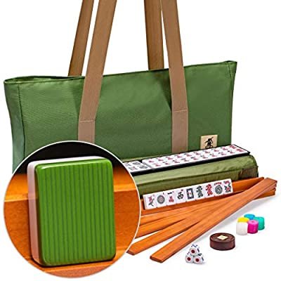 Yellow Mountain Imports American Mahjong Set, Huntington with Olive Green Soft Case - 4 All-in-One Racks with Pushers, Dice, & Wright Patterson Scoring Coins: Toys & Games